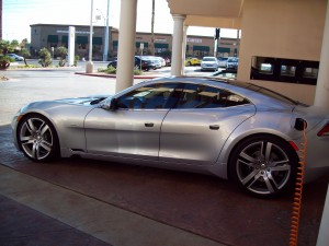 A Fisker Karma plugs in at a Gaudin Motorworks dealership in southern Nevada.