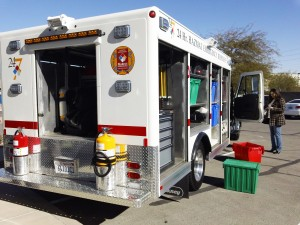 Double Barrel Environmental Services Hazmat truck and extinguisher gear