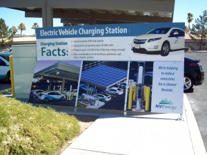 NV Energy Pearson Campus, where 10 ChargePoint charging ports are powered during the day by a photovoltaic solar cell canopy.