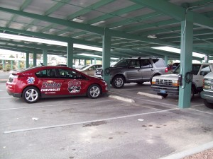 Photovoltaic solar cell arrays mounted on the Mirabelli community center parking lot provide power to two Bosch AC Level 2 charging stations.