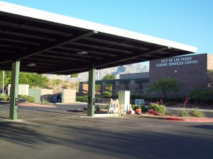 Veterans Memorial Community Center in Summerlin with two Bosch AC Level 2 EVSE powered by a photovoltaic solar carport.