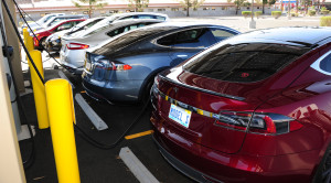 Vehicle barrier curbs and posts protect ChargePoint EVSE from accidental bumping by electric cars.