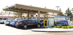 Electric cars sip from the NV Energy juice bar at 6226 W. Sahara Blvd., Las Vegas