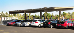 Two Tesla Model S, Ford Fusion Energi, Ford C-Max Energi, Ford Focus Electric and Chevrolet Volt await test rides for attendees of EVITP training in Las Vegas.