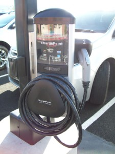 ChargePoint station at Las Vegas Cyclery has one SAE J1772 AC Level 2 plug, providing power rated at 240 Volts AC and 30 Amps.