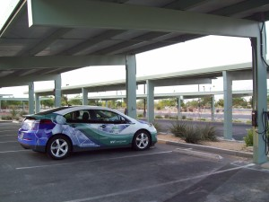 Centennial Hills Community Center near the Active Adult Center parking lot. A solar cell parking canopy provides power for two Bosch AC Level 2 EVSE.