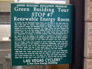 Las Vegas Cyclery Sign displaying the Renewable Energy room of the business where electrons are harvested from the sun and the wind.