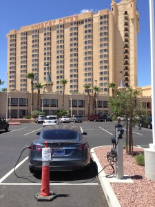 A Tesla Motors Model S recharges at Whiskey Pete's Hotel and Casino in Primm, located on the California/Nevada border on interstate highway I-15.