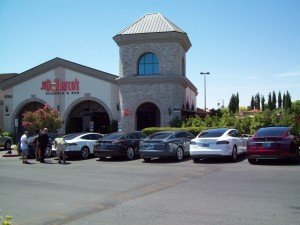 Tesla Motors Model S owners in southern Nevada convene at Dom DeMarco's Pizzeria and Bar to share their experiences with their new electric cars.