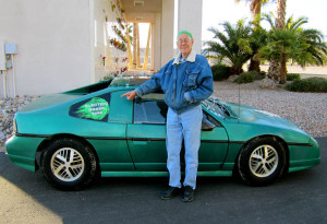 Bill Kuehl and his third Pontiac Fiero EV conversion.  He set a NEDRA quarter-mile drag race record in another Pontiac Fiero that still stands today.