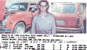 Bill Kuehl in 1985 with a rally race result ticket showing his record distance time for a Honda Civic EV conversion.