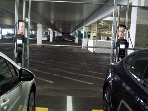 MGM Grand valet parking garage hosts two dual-port ChargePoint CT4000 recharging stations.