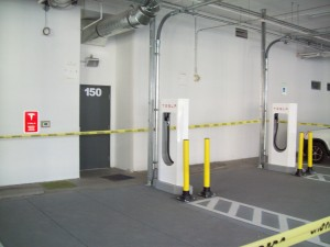 Two of six Supercharger stations recently installed at 701 Bridger Street in downtown Las Vegas.