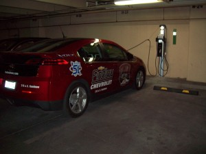 Bellagio north valet parking garage with dual-port ChargePoint CT4000