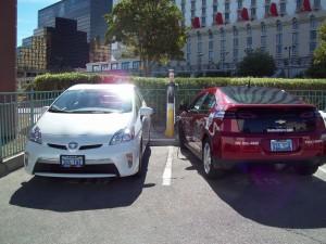 Dual-port ChargePoint EV charging station at Excalibur valet parking lot.
