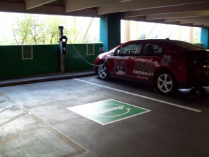 Dual-port ChargePoint CT4000 EV charging station on the 3rd Level of self-park garage on Tropicana Avenue serves MGM Corporate Campus and New York New York resort and casino.