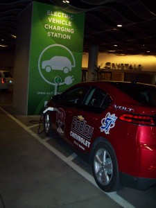 Crystals Mall valet parking garage at CityCenter has installed EV charging stations backed by wall-sized murals.