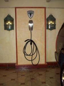 Bellagio south valet parking garage hosts a Tesla Motors Hi-Power charging station.