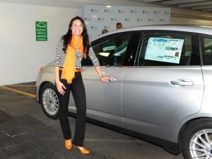 Tiffani Repucci from Gaudin Ford showcases a CMax Energi plug-in hybrid.