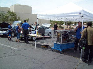 Automotive Instructor Terry Wolf demonstrates a hybrid drive system during the Las Vegas Science and Technology Festival on the College of Southern Nevada campus.