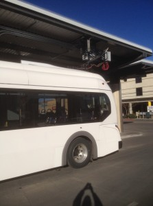 Reno Electric Bus Dump Charge takes only a few minutes to recharge the bus battery pack to travel less than a mile to the next dump charge station.