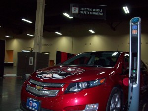 Findlay Chevrolet provided a Chevrolet Volt and Verdek LLC provided a Tellus SAE J1772 AC Level 2 EV charging station at the Electric Vehicle Safety Showcase