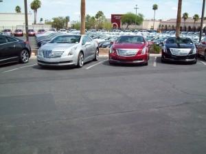 Three Cadillac ELR plug-in hybrids at Cadillac of Las Vegas.