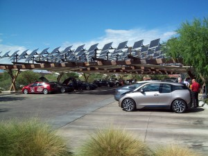 """Electric Juice Bar Crawl"" staging area at Springs Preserve in Las Vegas under a photovoltaic solar cell canopy that tracks the sun."