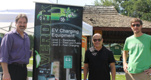 Rudy Garcia of VERDEK LLC (center) led EV charging station infrastructure efforts for the NV Energy shared investment program. Also in picture are Tom Polikalas (left), SWEEP's Nevada representative, and David Gibson (right) of the Nevada Governor's Office of Energy