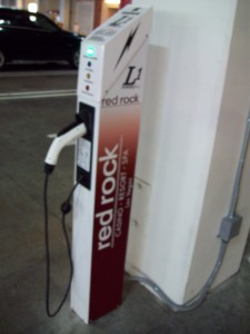 Telefonix SAE J1772 AC Level 1 charging station at Red Rock Resort valet parking area.