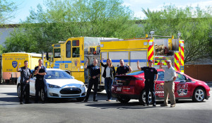 "A big ""thumbs up"" from attendees at a NEVA EV Safety Training presentation at Clark County Fire Station 21, including Marie Steele, Manager of Electric Vehicles and Renewable Energy at NV Energy, and Stan Hanel, NEVA Outreach Coordinator"