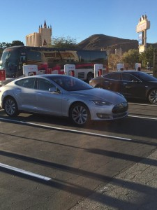New Tesla Motors Supercharger site at Primm on Interstate Highway 15 near the California/Nevada border.