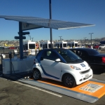 Envision Solar EV ARC(tm) charging station uses photovoltaic solar canopy and lithium-ion battery storage system to operate an EV charging station remotely off the utility grid.