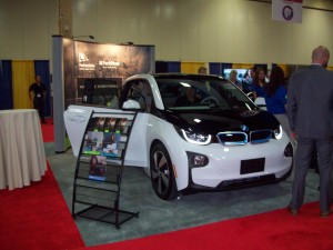 A BMW i3 electric car is featured by a parking management company during the International Parking Institute's 2015 Conference & Expo.