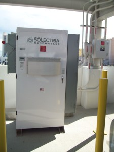 A Solectria Renewables Power Station channels the electric energy harvested from the rooftop solar panels up to 400 Volts DC at 8 Amps.