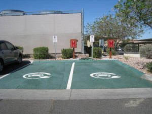 Two Tesla High-Power charging stations and one SAE J1772 AC Level 2 station at parking lot of Eureka Casino Resort.