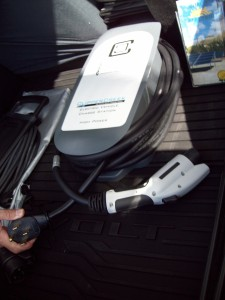 One Chevy Volt owner carried a portable SAE J1772 AC Level 2 charging station in the trunk of his car that could be connected to 240 VAC outlets. This EVSE is available from Clipper Creek.