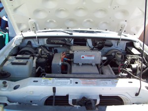 Under the hood of a Ford Ranger EV electric truck.