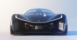Front view of Faraday Future FFZERO1 electric race car concept, showing air flow channels to lower drag and cool the battery pack.