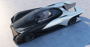 Top-down view of single-seat electric race car concept by Faraday Future, based on its Variable Platform Architecture.