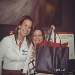 Marie Steele, NV Energy EV Manager and Jennifer Taylor, Clean Energy Project Executive Director, participated in Green Alliance of Nevada presentation at the Tesla Motors service center in Las Vegas