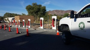Eight Tesla Supercharger stations are part of Beatty DC Quick Charge site on Nevada Electric Highway