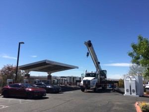 Tesla Motors Supercharger station in Barstow, CA provides fast recharging site for Tesla Motors owners driving between LA and Las Vegas.