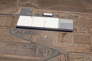 The first section of the Tesla Motors Gigafactory in Storey County is completed and unveiled to the public during 2016.