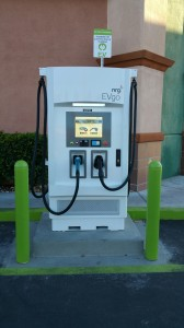 NRG eVgo DC Fast Charge Station installed at Terrible Herbst service stations  provides 400 Volts DC at 100 amps from either a CHAdeMo or SAE Combo plug.  Cost is $5.95 to connect and 20 cents per minute DC Fast Charge. Payment is made by credit card or NRG eVgo EZCharge card.