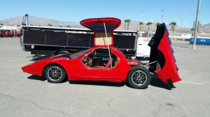 Evan Eskelson exhibited a 1974 Aztec 7 kit car EV conversion modeled after the styling of a 1980s Lamborghini Countach.