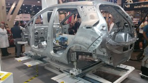"Chevrolet Bolt EV  ""body in white"" shows aluminum construction before paint is applied."