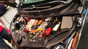 Under the hood of the Chevrolet Bolt EV.