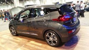 Chevrolet Bolt EV on display at Motor Trend International Auto Show at Las Vegas Convention Center