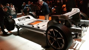 Faraday Future FF91 chassis with three electric motors and all-wheel steering.